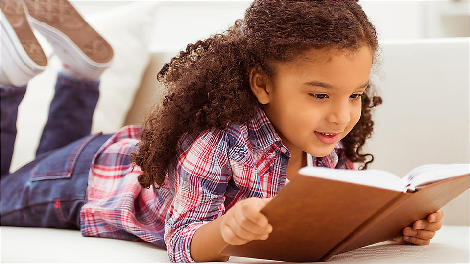 Child, girl, reading, book, learning