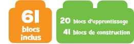 61 blocs inclus 20 blocks d'apprentissage & 41 blocs de construction