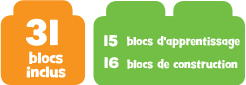 31 blocs inclus 15 blocs d'apprentissage & 16 blocs de construction