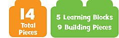 14 Total Pieces 5 Learning Blocks & 9 Building Pieces