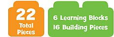 19 Total Pieces 10 Learning Blocks & 9 Building Pieces