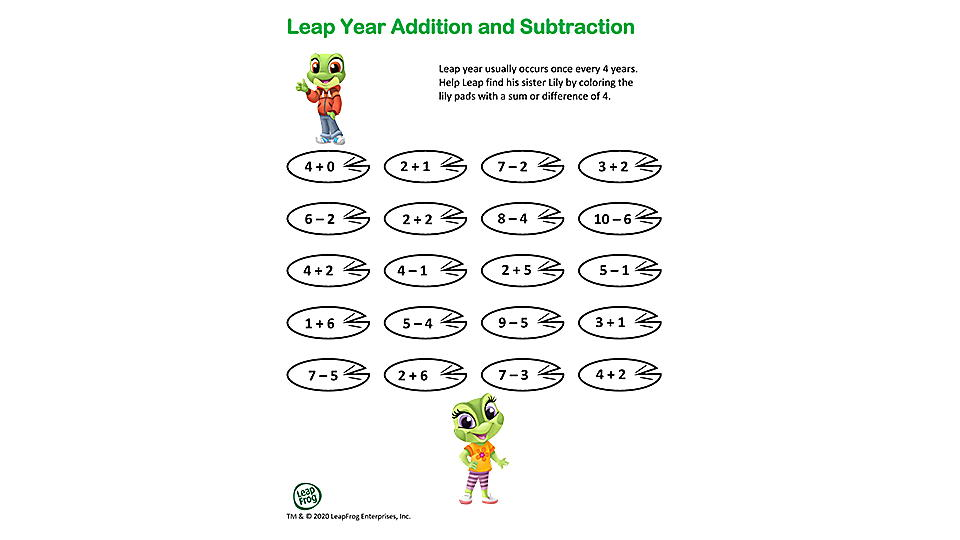 Leap Year Addition and Subtraction Activity Preview