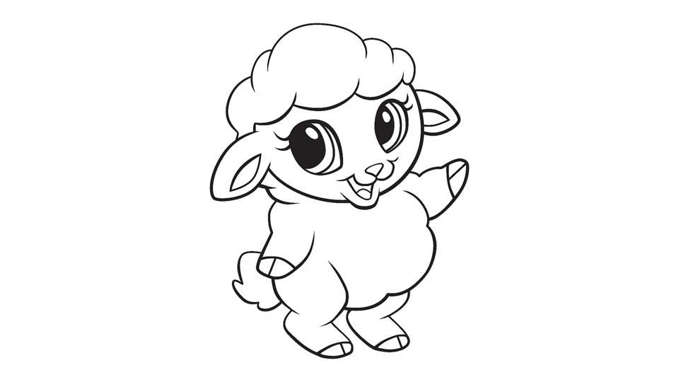 Baby sheep coloring printable
