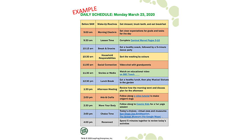 Daily Schedule Example
